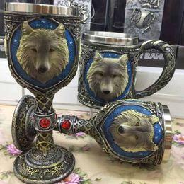Caffè lupo online-Coppa del cranio Calice Bicchiere da vino in acciaio inox pratico Tumblerful Tazze di caffè 3D Stereo Lupo Drinkware Vendita calda 32xc R