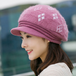 Wholesale Knit Visor Hat Women - Wholesale-2017 Woman Warm Winter Hat Lady Cashmere Earmuffs Beret Fashion Knitted Rabbit Hair Velvet Visors Wool Wholesale