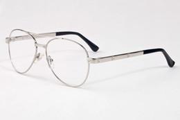 Wholesale Reading Sunglasses - Fashion Clear Lens Glasses Men Sunglasses Pilot Metal Glasses Frame Wood Eyeglasses for Reading Fishing Outdoor Luxury Eyewear Santos Oculos