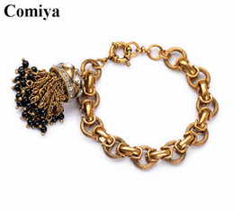 Wholesale Chunky Chain Link Bracelets - Wholesale- perfume punk tassel women chunky Crystal Charming gold bracelets & bangles arm bracelet Luxury Brand for women bangle cc