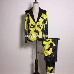 Wholesale Pants Dragon Prints - S-4XL Korean Men's Yellow Dragon Printed Suits Set Male Singer Show Skinny Blazer Pants Costume Performance Party Wearing Suits