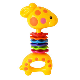 Wholesale Giraffe Teether - Infant Giraffe Rattle Bell Hand Toy Training Toddler Baby Teether Toy soothe posterior teeth 360 degrees