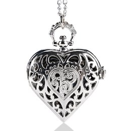 Wholesale Ladies Crystal Necklace Watches - Wholesale- Luxury Hearts Shaped Hollow Crystal Quartz Pocket Watch Pendant Necklace Chain Women Ladies Gifts