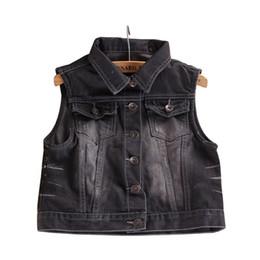 Wholesale Wholesale Denim Jackets Vests - Wholesale- Retro Washed Women Denim Sleeveless Personalized Black Short Jeans Jacket Cardigan 2015 Spring Summer Style E0105