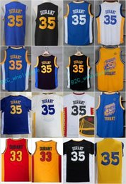 Wholesale Vintage Chinese Shirt - New Style 35 Kevin Durant Blue Jerseys Shirt Rev 30 Breathable Home Throwback Chinese High School Oak Hill Vintage Black White Yellow Red
