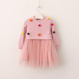 Wholesale Girls Lace Jumpers - Kids Clothing Baby Girls Knit Lace Dresses Baby Girls Princess Balls Dress Girls Autumn Jumper dress 2017 childrens clothes
