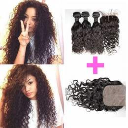 Wholesale Natural Wavy Black Hair - G-EASY Wet And Wavy Silk Base Closure With 3 Bundles Brazilian Human Hair Extensions Natural Black DHL FREE
