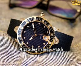 Wholesale Maxi Diver - Super Clone Ulysse Maxi Marine Womens Diver 8106-101E-3C 12 Black Dial Automatic Mens Watch 38mm Rose Gold Diamonds Ladies Watch New Watches