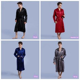 Wholesale Male Silk Kimono Robe - Men Plain Silk Rayon Kimono Bathrobe Solid Color Thin Male Long Robe Night Gown Sleepwear 4 Colors OOA1908