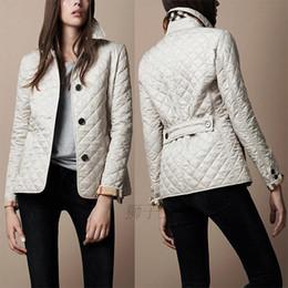 Wholesale Breast Pads - Wholesale- New 2016 Winter Coat Jacket Women Brand Design British Style Argyle Wadded Jacket Plus Size Cotton-padded Outerwear A168