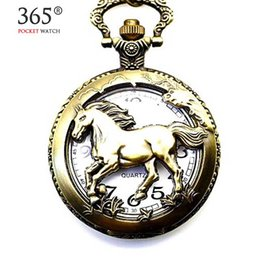 Wholesale Chinese Zodiac Pocket Watches - Wholesale- Vintage Women Men Chinese Zodiac Horse Wolf Quartz Pocket Watch Necklace