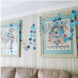 Wholesale Paper Hanging Star - Wall Hanging Paper Star Garlands 4m Long Birthday String Chain Wedding Party Banner Handmade Children Room Door Home Decoration