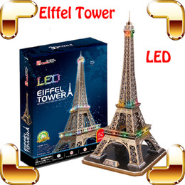 Wholesale National Lighting - New Arrival Gift Eiffel Tower 3D Puzzles Model Building Toys LED Light Display National Mark DIY Learning Game Present Decoration