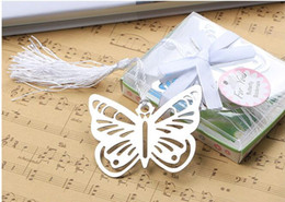 Wholesale Silver Butterfly Bookmarks - 100pcs Metal Silver Butterfly Bookmark Bookmarks White tassels wedding baby shower party decoration favors Gift gifts Free Shipping