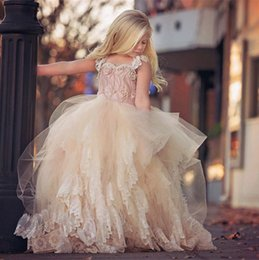 Wholesale Toddler Pageant Dresses Photos - Vintage Ball Gown Flower Girl Dresses For Weddings Beaded Top Mint Toddler Tiered Skirt Formal Wear Pageant Lace Tulle Sleeves Dresses