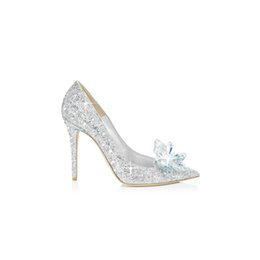 Wholesale Big Silver Sequin - 2017Wedding shoes bride high heels pointed bridesmaid dresses shoes big size shallow shoes Cinderella crystal heels