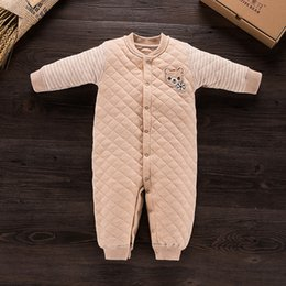 Wholesale Unisex Baby Coverall - 2017 Cotton Newborn Baby Romper Autumn Winter Warm Coverall Infant Jumpsuit One Piece for Toodler Baby Cute Clothes 0-2Y
