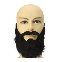Wholesale Disguise Halloween - 100pcs lot New Arrival Fashion Funny Costume Party Male Man Halloween Beard Facial Hair Disguise Game Black Mustache WA0802