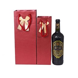 Wholesale Wine Paper Gift Bag - Paper Gift Bags High-Grade Bowknot Single Paper Wine Bag Thick Spiral Pattern European Style Kraft Paper Bag Small Large Sizes To Choose