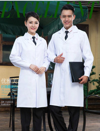 Wholesale Belly Dance Sleeves White - Q228 Women or Men White Medical Coat Clothing Medical Services Uniform Nurse Clothing Long-sleeve Polyester Protect Lab Coats Cloth