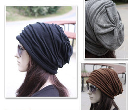 Wholesale Womens Cotton Winter Hats - Fashion Beanie Skull Caps Mens Womens Spring Fall Winter Wool 4Colors Knitted Ruffle Layers Plain Hats Caps G582