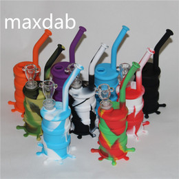 Wholesale Pipes Drums - Hookah Silicone Barrel Rigs Mini Silicone Rigs Dab Jar Bongs Jar Water pipe Silicon Oil Drum Rigs free shipping DHL
