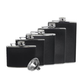 Wholesale Hip Flask 7oz - JUJOR 5-Pattern Classic Hip Flask Stainless Steel 4 5 6 7 8 oz. Black PU Leather and Funnel Set
