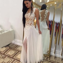 Wholesale Inexpensive Wedding Dress Chiffon - Sexy Sheer Beach Wedding Dress 2017 Country Lace Appliques Illusion Top High Split Chiffon Bridal Gowns Inexpensive