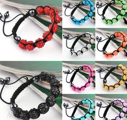 Wholesale Beaded Jewelry Prices - Lowest Price!10mm Hot Disco Ball Bracelets Resin Crystal Beads Bracelets Hematite Beads Bracelet Adjustable women jewelry Gift w93