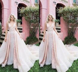 Wholesale Empire Waist Princess Dresses - 2018 New Detachable Skirts Ruffles Waist Wedding Dresses Vestidos De Renda V-Neck Applique Wedding Dresses Fast Shipping