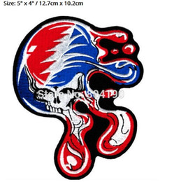 "Wholesale Iron Patches Skulls - 5"" BIG Grateful Dead Large Melting Steal Your Face Dripping Skull Music Band Heavy Metal Iron On Patch Tshirt TRANSFER APPLIQUE"