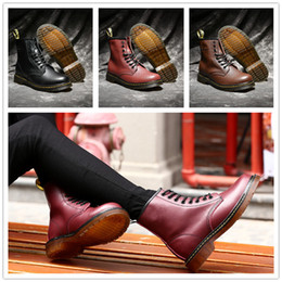 Wholesale Mans Martens - 2017 Newest leather boots Winter ankle Style Dr. Genuine Leather Marten Boots Martin Shoes Men&Women Dr Designer waterproof Boots size 36-45
