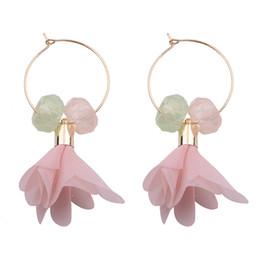 Wholesale Pink Sterling Silver Hoop Earrings - Fashion Flower Crystal Beads Dangle Earrings for Women 2017 New Design Bohemian Wedding Drop Statement Hoop Earrings boucle d'oreille