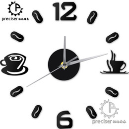 Wholesale Coffee Cup Clocks - Wholesale-Digital Number Coffee Cup DIY Clock Acrylic Sticker Self-adhensive Quartz Mute 3D Wall Clock Kitchen Home Decor Wall Clock