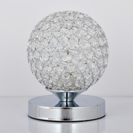 Wholesale Luxury Lamp Tables - Luxury K9 Crystal Table Lamp Light Creative ball stainless steel Decoration Lighting For Study Bedroom E27 Bulb AC85-240V