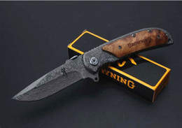 Wholesale Browning 338 - 9 options Browning knife Browning 338 377 367 365 364 360 355 folding knives 5Cr15Mov Blade Titanium coating wood handle
