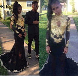 Wholesale Girls Robe 12 - Sexy African Black Girl Prom Party Dresses 2017 Robe de soiree Gold Applique High Neck Long Sleeve Mermaid Evening Gowns