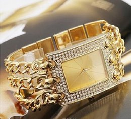 Wholesale Time Watch Women - Factory Price Hot Brand Popular Watches Women Fashion Rhinestone Dress Watch Ladies Casual Gold Steel Strap Quartz Wristwatches Time Hours