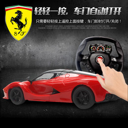 Wholesale Toy Cars Open - Wholesale- RC toys car for children Remote control 1:18 toys gift RC opening door LED light toy car Free shipping