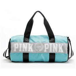 Wholesale Stripe Party Bags - fashion girl Stripe Duffle Bag pink Victoria beach shoulder bag large capacity secret Overnight Weekender bag