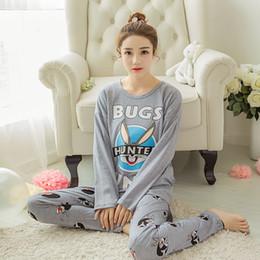 Wholesale Womens Cotton Pajamas Sets - Wholesale- JRMISSLI 100% Cotton Womens Pajama Sets O-Neck Long Sleeve Women Sleepwear Pajamas Girls Woman Pyjama Femme
