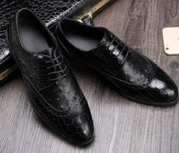 Wholesale Drill Ends - Top end Men leather dress shoes Shallow mouth Crocodile & Ostrich pattern Luxury cow leather manual drilling lace-up shoes