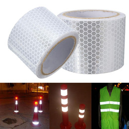 Wholesale Reflective Safety Tape - Wholesale- 1PC NEW White 5X300cm Car Motorcycle Automobiles Reflective Safe Material Safety Warning Tape Stickers Car Styling Decoration