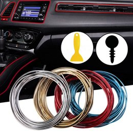 Wholesale Car Interior Door - 5M Car Door Dashboard Air Outlet Steering-wheel Styling Interior Decoration Line Strips car-styling Without Stickers Accessorie