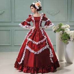 Wholesale Marie Antoinette Dresses - Custom 2016 Hot Sale Marie Antoinette Princess Dress Wine Red Floral Printed Renaissance Court Lace Princess Dress