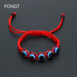 Wholesale Red Lucky Hand String - Wholesale- 2017 Hot Hand made red string evil eye bracelets Kabbalah Blue evil eye Good Lucky bracelet Unisex Man Women fashion jewelry