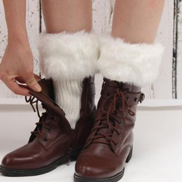 Wholesale Hot Boots For Female - Wholesale- Knitted Short Leg Warmers for Women Hot Patchwork Faux Fur Boots Socks Female Autumn Winter Warm Cute Calentadores Piernas Muj