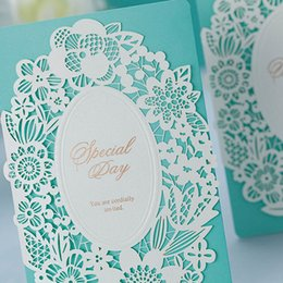 Wholesale Invitation Blue Flower - Wholesale-50 Pcs Lot, Light Blue-White Laser Cut Flowers Wedding Invitations Cards with Envelopes and Seals, Free Printing