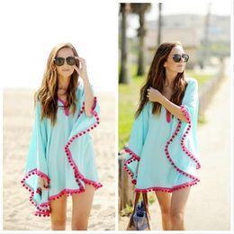 Wholesale Dress Shirts For Women Chiffon - Swimwear Cover-Ups Summer Dress bikini swimsuit beach cover up for women drooping tassels bat sleeve capes dress Beach blouse Chiffon Shirts
