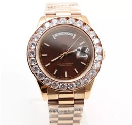 Wholesale Perpetual Rose Gold - Wholesale - Top AAA Quality Mens Watch Big Diamonds Day-Date Rose Gold Stainless Steel Perpetual Automatic Mechanical Sapphire Glass Men